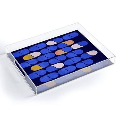 "17"" x 14"" Acrylic Showmemars Modern Pattern Tray Blue - society6"