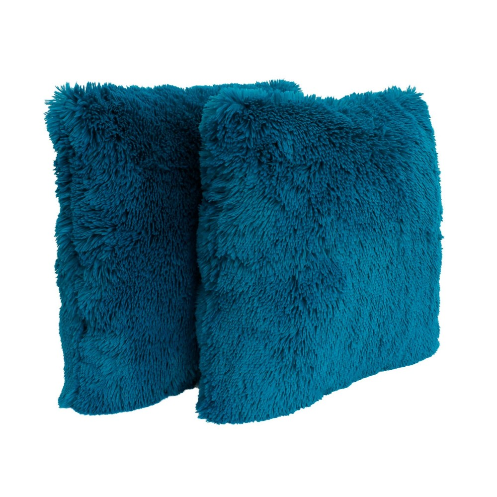Image of 2pk Ocean Depths Chubby Faux Fur Pillow Blue - Décor Therapy