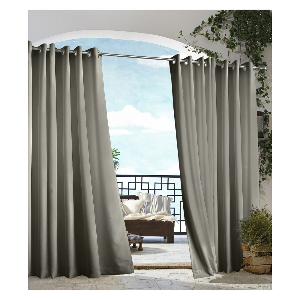 "Image of ""50""""x108"""" Gazebo Grommet Top Blackout Curtain Panel Dark Gray - Outdoor Décor, Size: 50x108"""