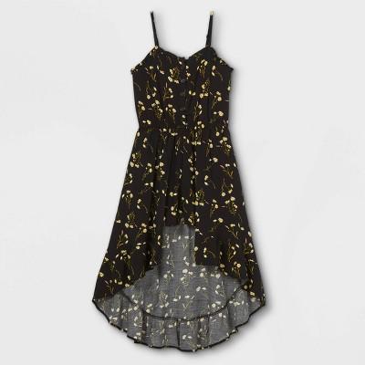 Girls' Button-Front Floral Sleeveless Walk-Through Romper - art class™