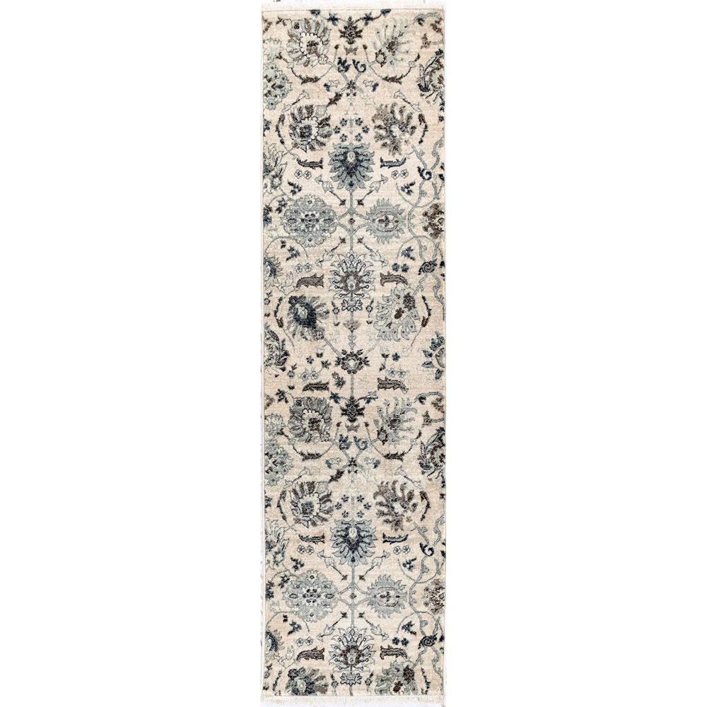 2'X8' Floral Woven Runner Rug Ivory - Liora Manne, White
