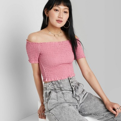 Women's Short Sleeve Off the Shoulder Cropped Smocked Top - Wild Fable™