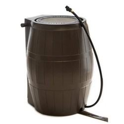 FCMP Outdoor RC4000-BRN 45-Gallon BPA Free Home Rain Water Catcher Barrel, Brown