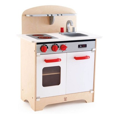 Hape Pretend White Gourmet Kitchen Wooden Children's Toy w/ Oven, Stovetop, Sink