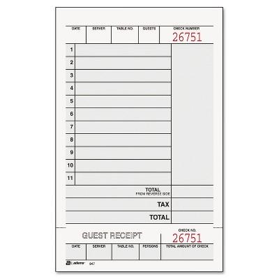 Adams Guest Check Unit Set Carbonless Duplicate 7 1/4 x 4 1/4 250/Pack 947SWC