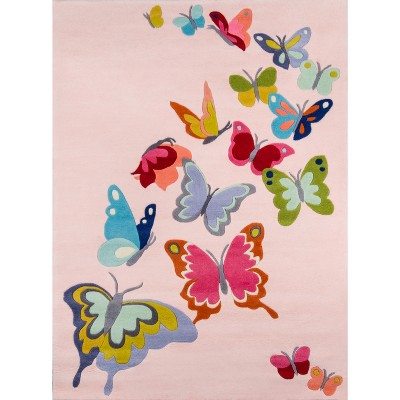 Floating Butterflies Accent Rug - Pink - (5'x7')