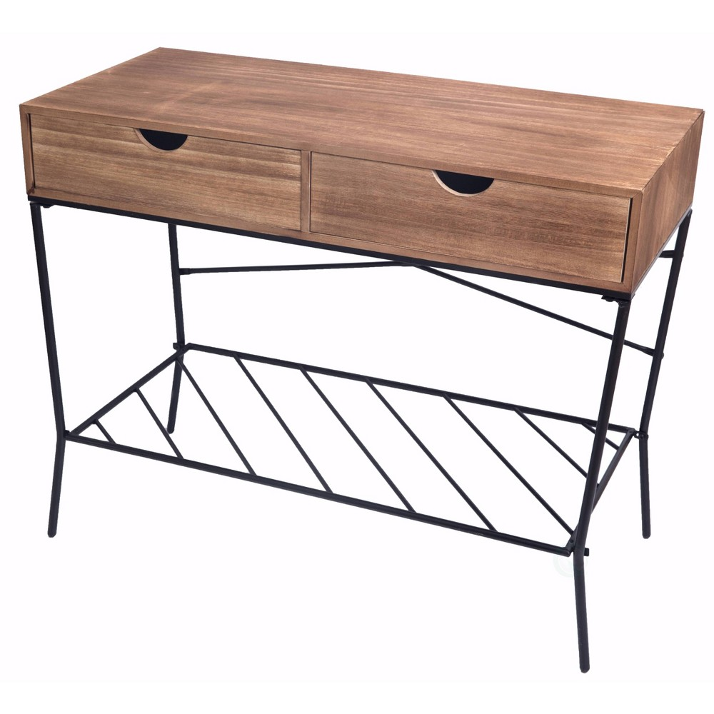 Best Price Wood And Metal Console Table With 2 Drawers And Storage Shelf Wood Uniquewise