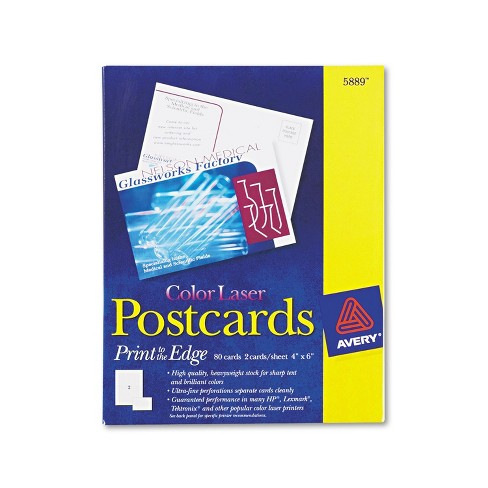 Avery Postcards Color Laser Printing 4 x 6 Uncoated White 2 Cards/Sheet 80/Box 5889 - image 1 of 4