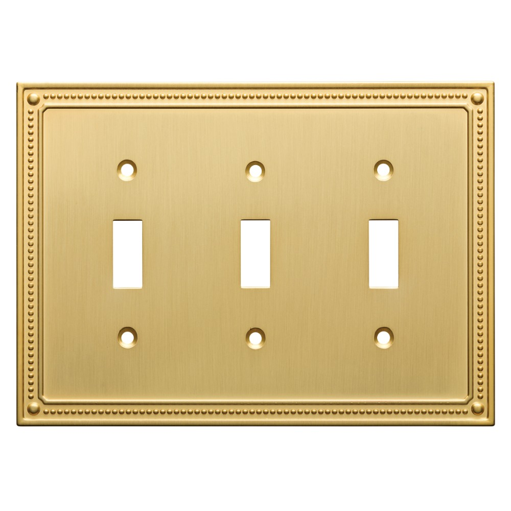 Classic Beaded Triple Switch Wall Plate Brushed Brass - Franklin Brass