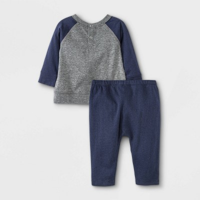 Grayson Mini Baby Boys' 'Small Wonder' Top & Bottom Set - Charcoal Gray