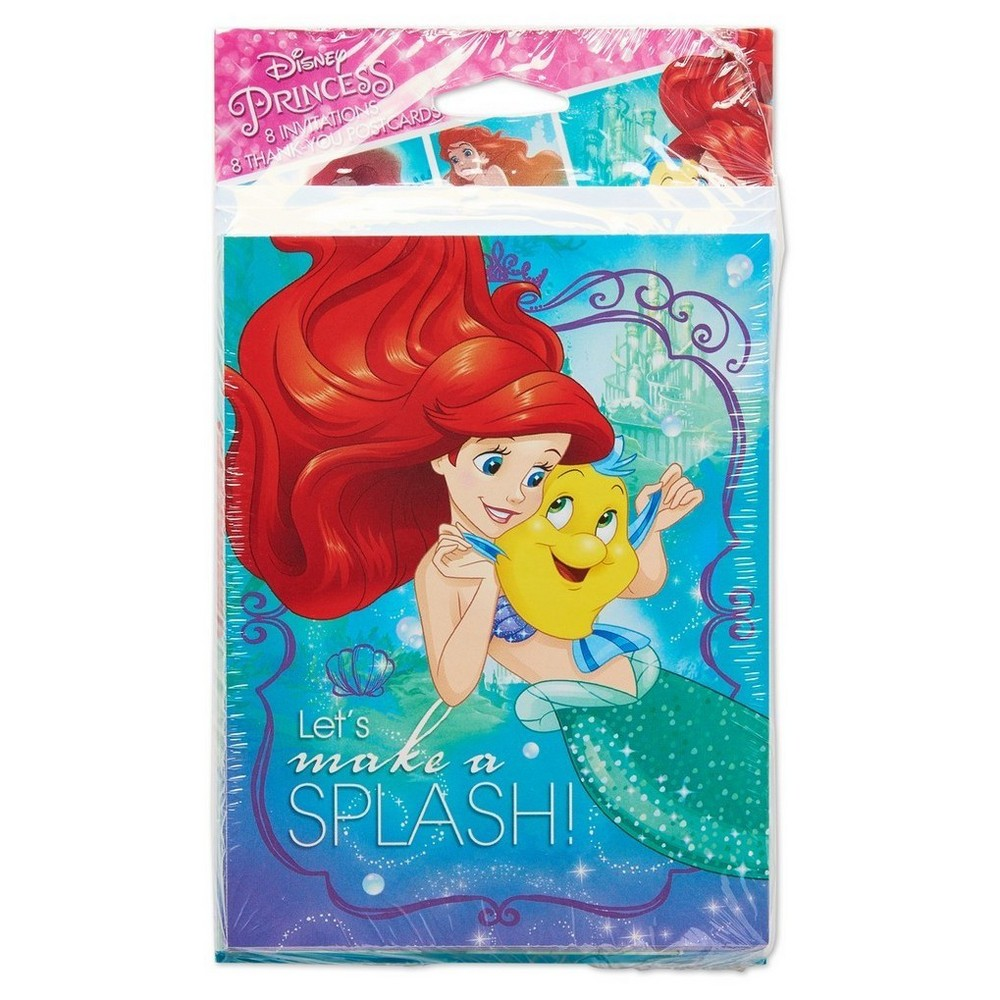 16ct The Little Mermaid Ariel Invitation/Thank You Card Pack, Multi-Colored