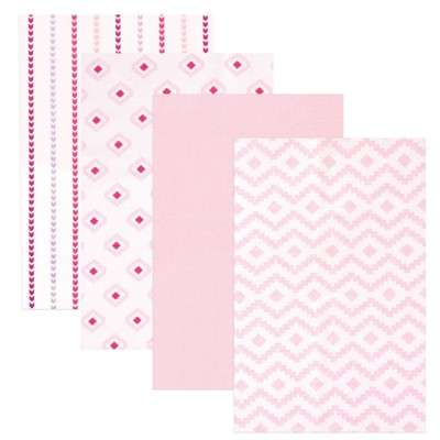 Hudson Baby Infant Girl Cotton Flannel Receiving Blankets, Girl Modern, One Size