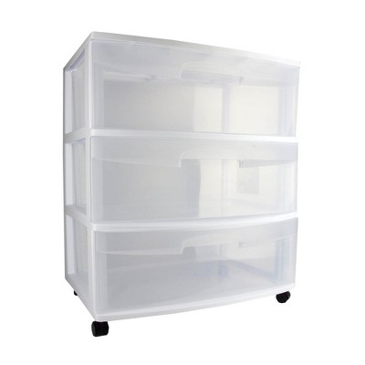 Sterilite Home 3 Drawer Wide Storage Cart Portable Container w/Casters