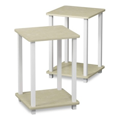 Furinno Furniture Simplistic Wooden Sturdy Square Flat Top Indoor Home Decor End Tables for Bedrooms and Living Rooms, Cream (2 Pack)