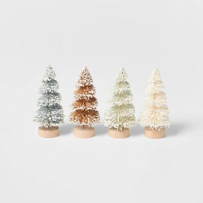 4pk Glitter Bottle Brush Christmas Tree Set - Wondershop™