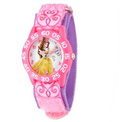 Girls' Disney Princess Belle Pink Plastic Time Teacher Watch - Pink