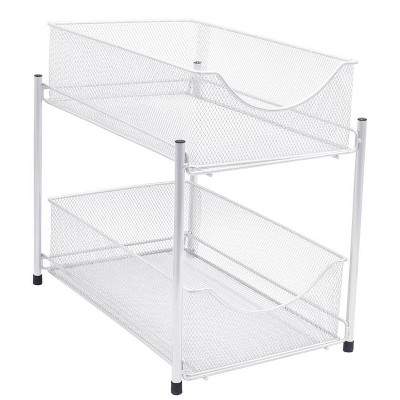 Sorbus 2 Tier Organizer Baskets With Mesh Sliding Drawers White