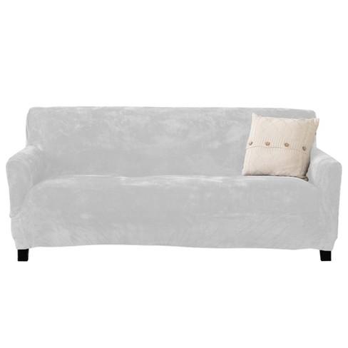 Stretch Fit Velvet Sofa Slipcover White
