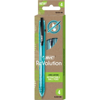 BiC 4pk Ballpoint Pens ReVolution Black Ink