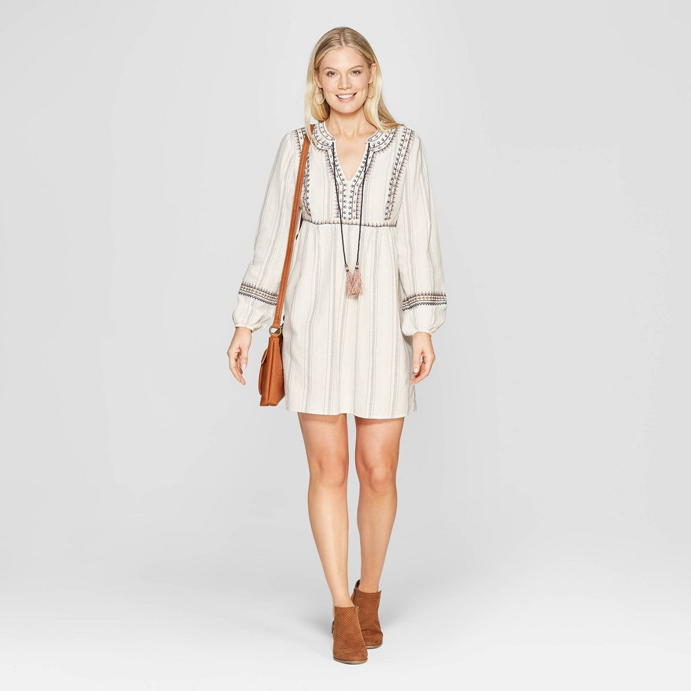 Women's Striped Long Sleeve V-Neck Shift Midi Dress With Embroidery - Knox Rose Ivory Xxl, White