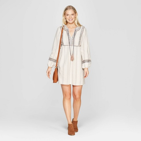 Women's Long Sleeve V-Neck Dress With Embroidery and Tassels - Knox Rose™ Ivory - image 1 of 5