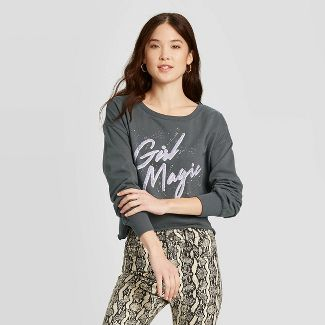 Women's Girls Magic Cropped Sweatshirt - Grayson Threads (Juniors') - Gray XXL
