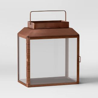 "14"" Medium Metal and Glass Outdoor Lantern Copper - Smith & Hawken™"
