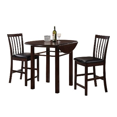 Artie 3 Piece Counter Height Dining Set   Espresso   Acme