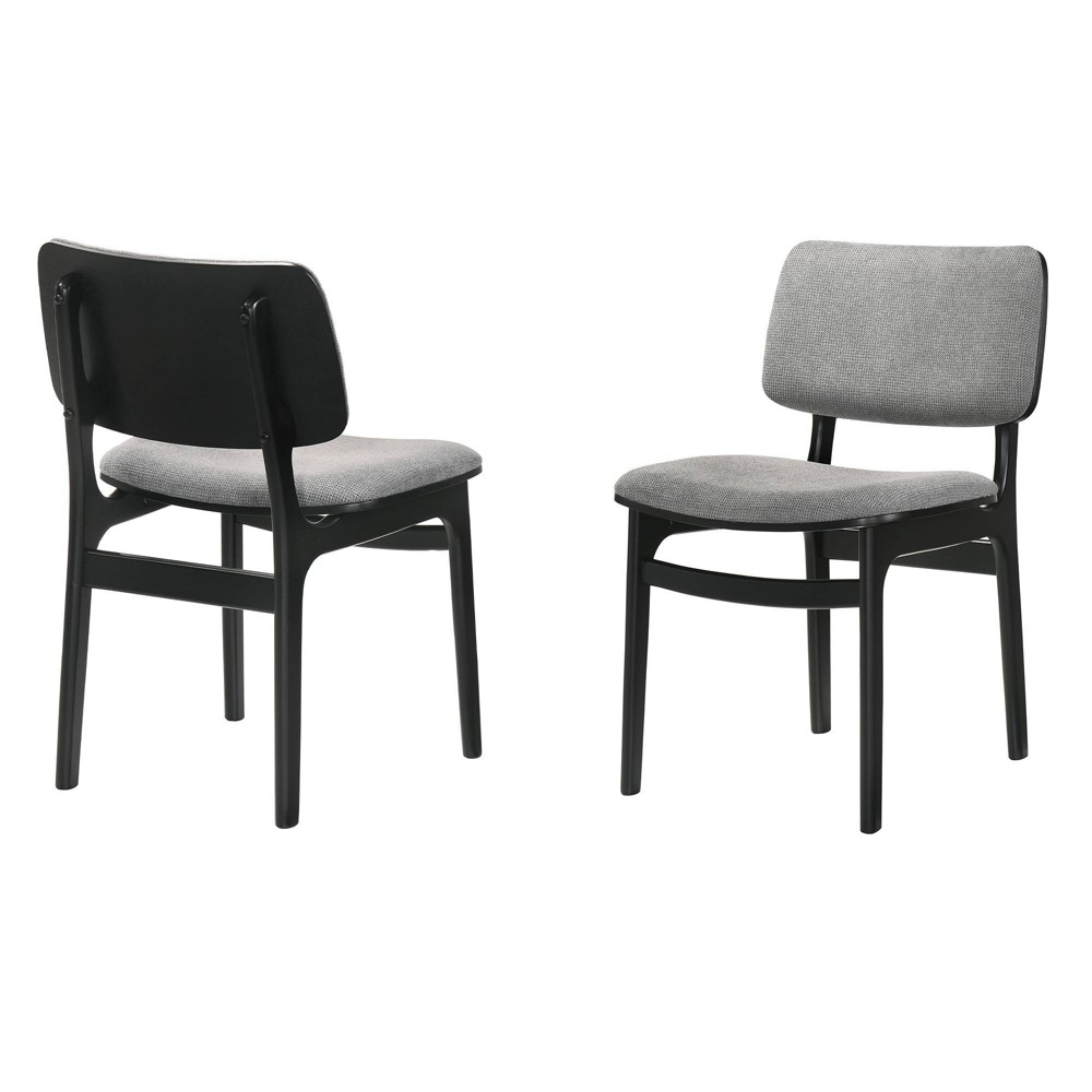 Set Of 2 Lima Upholstered Wood Dining Chairs Black Armen Living