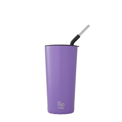 S'ip by S'well Vacuum Insulated Stainless Steel Takeaway Tumbler with Stainless Steel Straw 24oz - Purple Rock Candy