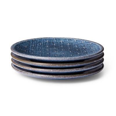 "6.75"" 4pc Stoneware Appetizer Plate Set Blue - Levi's® x Target"