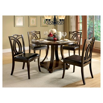 Exceptionnel IoHomes 5pc Open Bottom Shelf Round Dining Table Set Wood/Dark Walnut :  Target