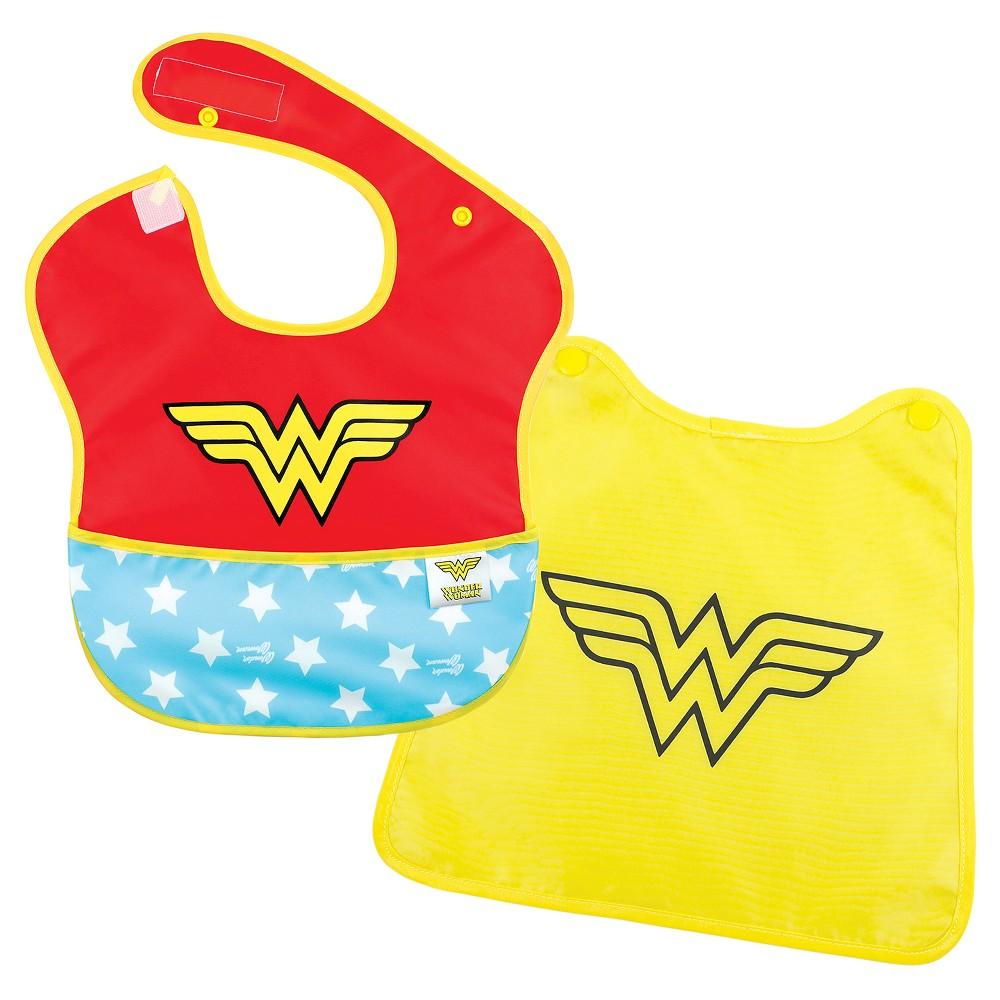 Image of Bumkins Baby Girls' Wonderwoman Waterproof Superbib With Cape, Girl's