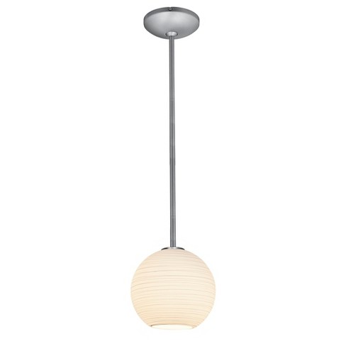 Japanese Lantern Rod Pendant with White Lined Glass Shade - image 1 of 1