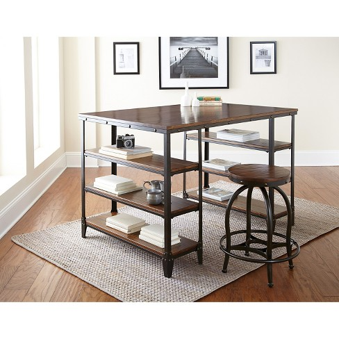 Henri Desk and Stool Set Brown - Steve Silver Co. - image 1 of 1
