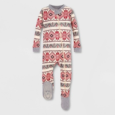 Burt's Bees Baby® Aspen Cabin Organic Cotton Footed Sleeper - Pink/Off White 0-3M