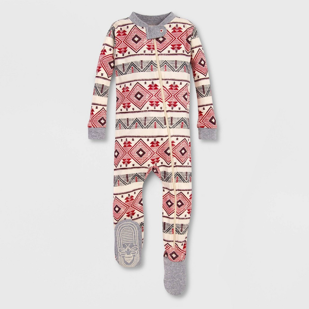 Image of Burt's Bees Baby Aspen Cabin Organic Cotton Footed Sleeper - Pink/Off White 0-3M, Kids Unisex, Gray