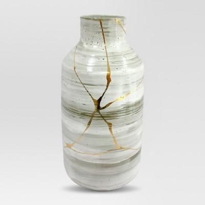 Stoneware Vase Large - White/Gold - Project 62™
