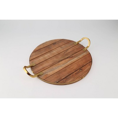 """Thirstystone 18.8"""" x 15.5"""" Acacia Wood Panel Serving Tray with Gold Finish Steel Handles"""
