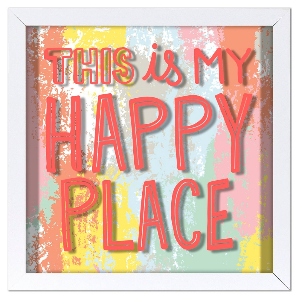 This is My Happy Place Screen Printed Glass Art - Pillowfort, Multi-Colored