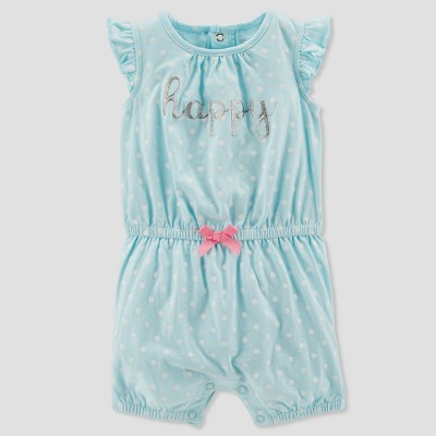 Baby Girls' 1pc Happy Dot Romper - Just One You® made by carter's Aqua 6M
