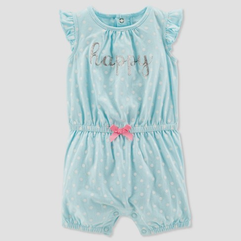 Baby Girls' 1pc Happy Dot Romper - Just One You® made by carter's Aqua - image 1 of 1