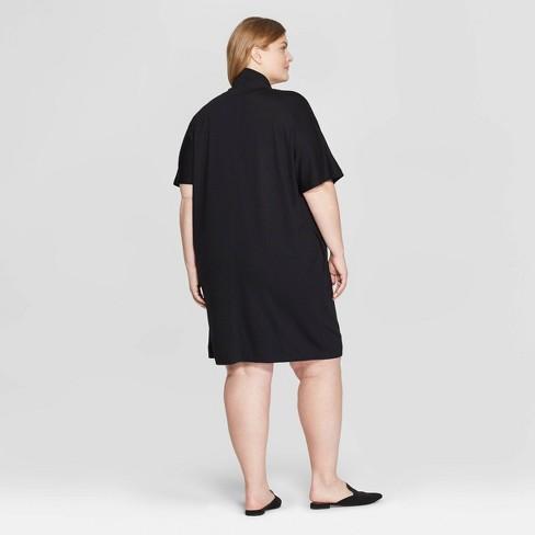 Women\'s Plus Size Short Sleeve Turtleneck Shirtdress - Prologue™ Black