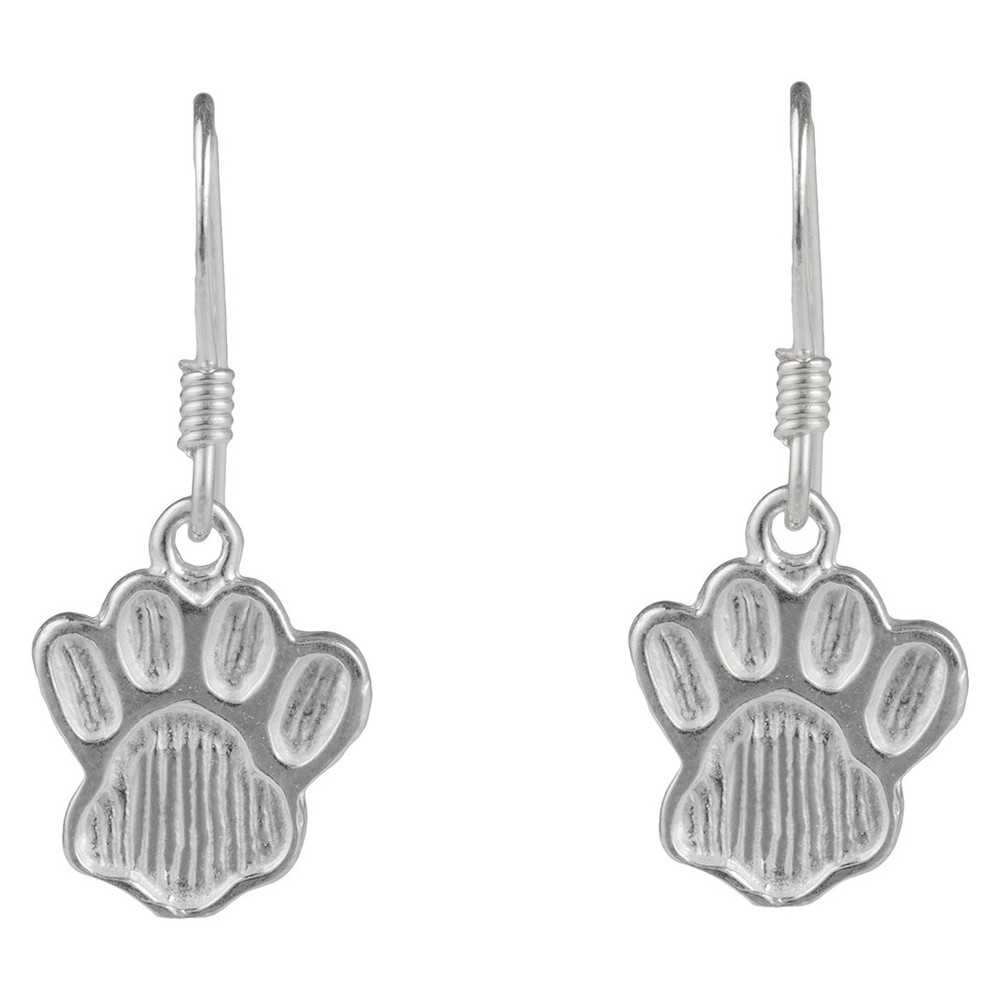 Women's Journee Collection Sterling Silver Paw Emblem Dangle Earrings - Silver Flaunt in high fashion with these earrings from Journee Collection. These dangle earrings are fashioned with a paw emblem and are finished with a high polish to complete this great look. Color: Silver. Gender: Female. Age Group: Adult.