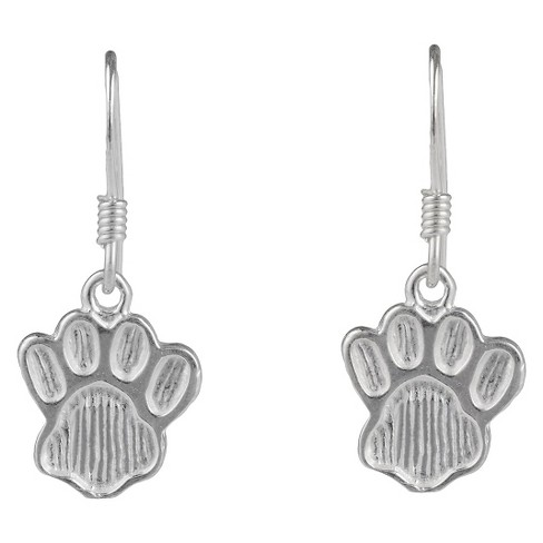 Women's Journee Collection Sterling Silver Paw Emblem Dangle Earrings - Silver - image 1 of 2