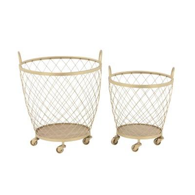 2pk Modern Metallic Rolling Baskets Gold