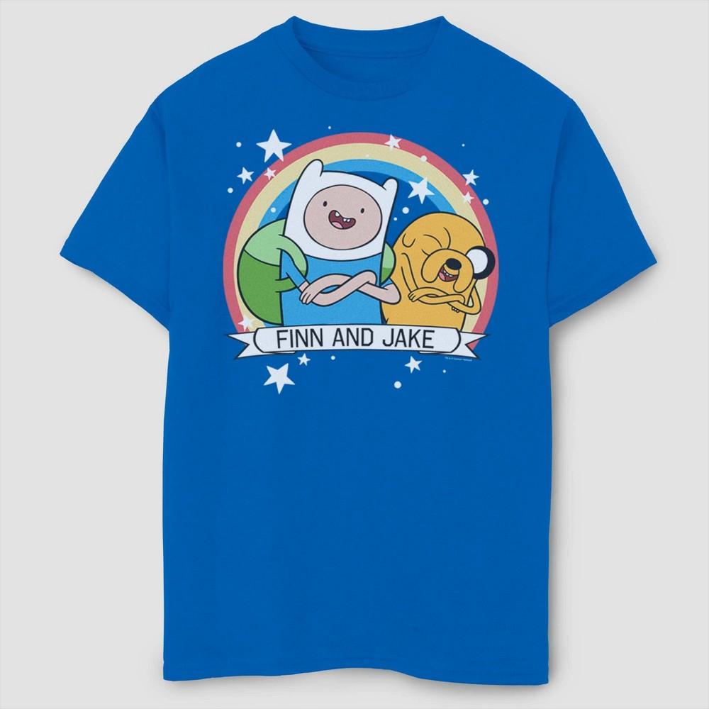 Image of Boys' Adventure Time Finn And Jake Best Buds T-Shirt - Royal Blue L, Boy's, Size: Large