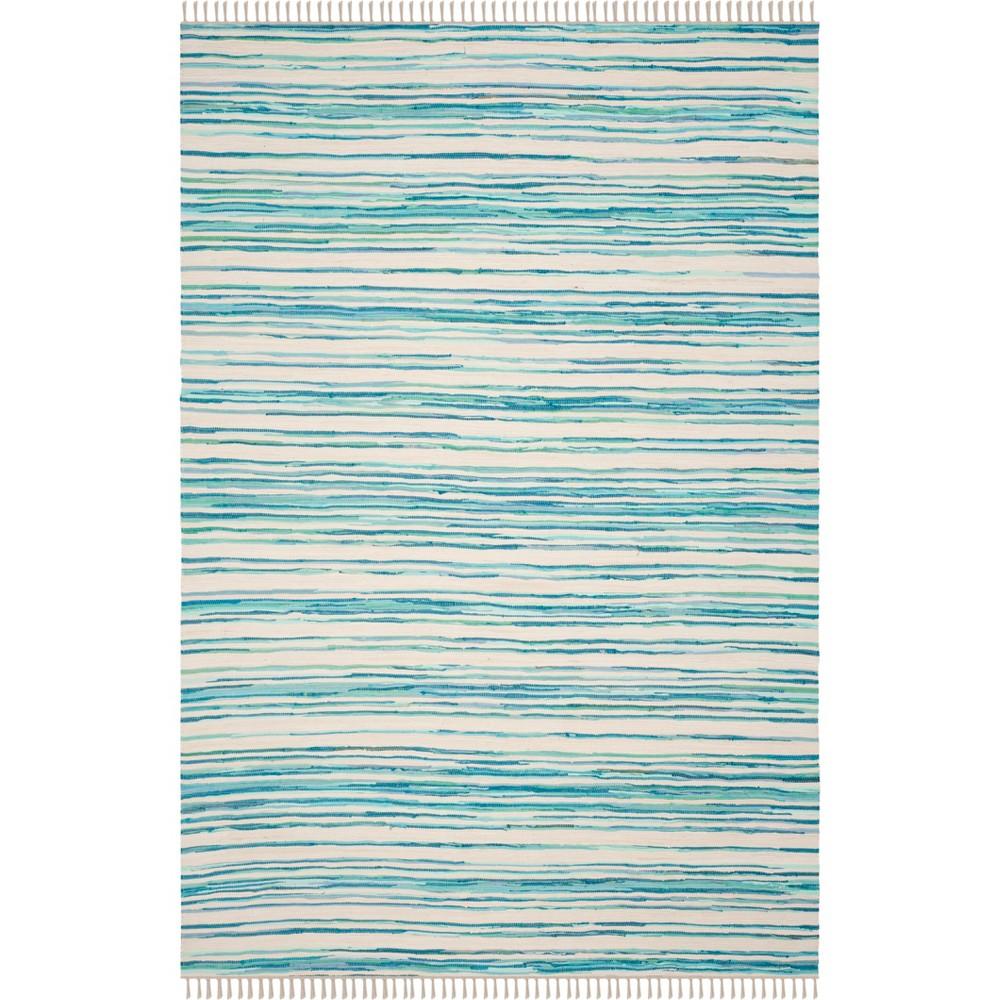 6'X9' Stripe Woven Area Rug Ivory/Green - Safavieh