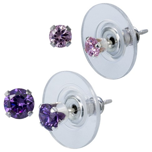 Sterling Silver Duo Round Stud Set - Pink/Purple - image 1 of 1
