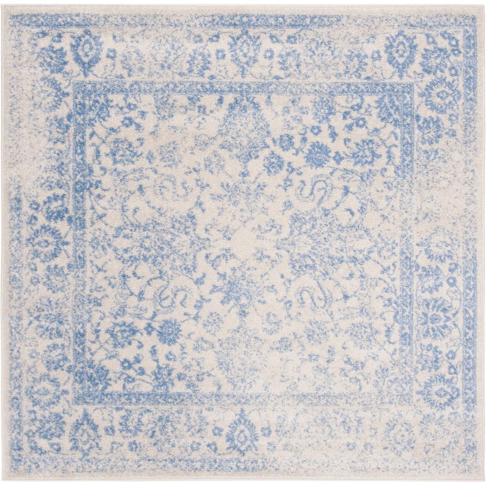 6'X6' Spacedye Design Loomed Square Area Rug Ivory/Light Blue - Safavieh